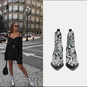 Zara Snakeskin Ankle Boots